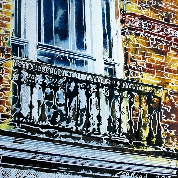 Painting of a juliet balcony above a shop in Buckingham. Juliet-Balcony ©2018 - Cathy Read - 9 of 4950 Series - Watercolour-and-Acrylic-17.8x17.8cm - £154