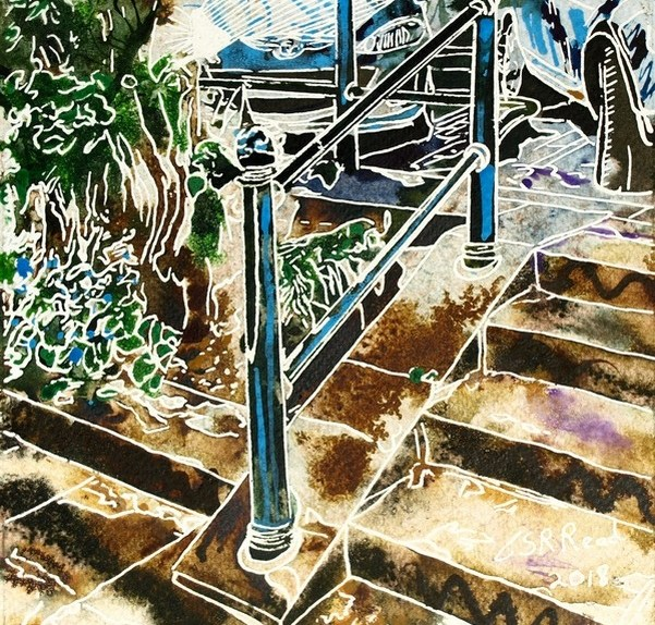 Painting of a handrail and steps. Hand Rail - ©2018 - Cathy Read - 16 of 4950 Series - Watercolour-and-Acrylic-17.8x17.8cm