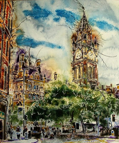 Painting of Albert Square in Manchester with the Town Hall and trees in the foreground. People wandering aroundAlbert-Square-Cathy-Read- 50x40cm-SOLD-©2018-