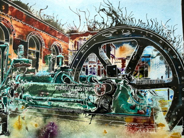 Painting of Crossley engine outside the Museum of Science and Industry Crossley Engine - ©2015 Cathy Read - Watercolour and acrylic ink - 28x38cm