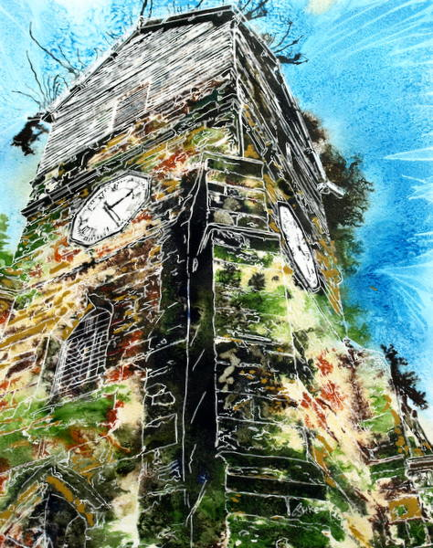 Wooden Tower of St Leonards - ©2015 Cathy Read - Watercolour and acrylic ink - 40x50cm - £570 framed
