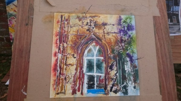 Painting in progress of arch windo at Claydon House19 The Arch Window - ©2018 - Cathy Read - WIP Watercolour and Acrylic 17.8 x17.8cm