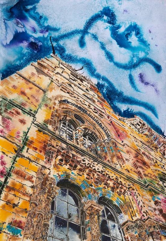 Painting of the Natural History Museum's main entrance in vibrant colours Natural History Gaffiti ©2018 - Cathy Read - Watercolour and Acrylic ink - £1,357