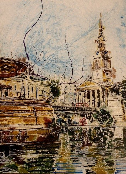 Painting of Trafalgar square and Trafalgar-Fountain and St Martin in the Fileds church London Trafalgar-Fountain - ©2018-Cathy-Read-Watercolour-and-Acrylic-40-x-30-cm