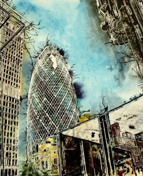 Painting of the Gherkin, cheesegrater and Lloyds building on the corner of Leadenhall Street, LondonThree Generations - ©2016 - Cathy Read - Watercolour and Acrylic - 40-x-50-cm - £575