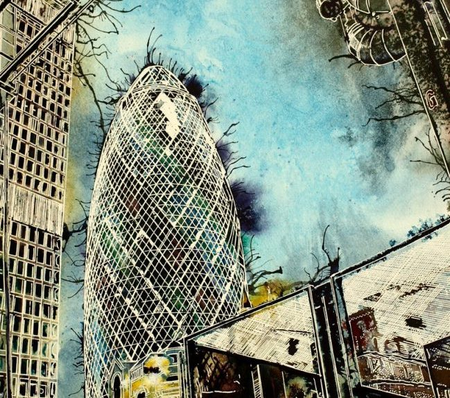 London art featuring the Gherkin, cheesegrater and Lloyds building on the corner of Leadenhall Street, LondonThree Generations - ©2016 - Cathy Read - Watercolour and Acrylic - 40-x-50-cm - £575