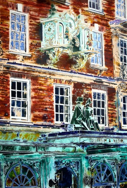 Painting of the frontage of Fortnum and Mason featuring the clock and Lynn Chadwick Sculpture King and Queen-Cathy Read-81-x-61cm-£1357-©2018