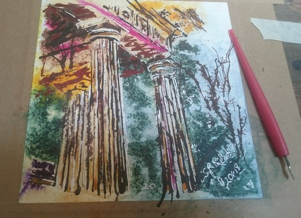 Painting of architetecture columns20 Temple Columns - ©2018 - Cathy Read - Watercolour and Acrylic - 17.8x17.8cm £140 framed