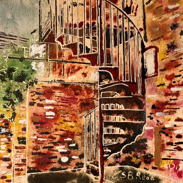 21-Spiral-Staircase- Cathy-Read- ©2018 - Watercolour-and-Acrylic-17.8x17.8cm