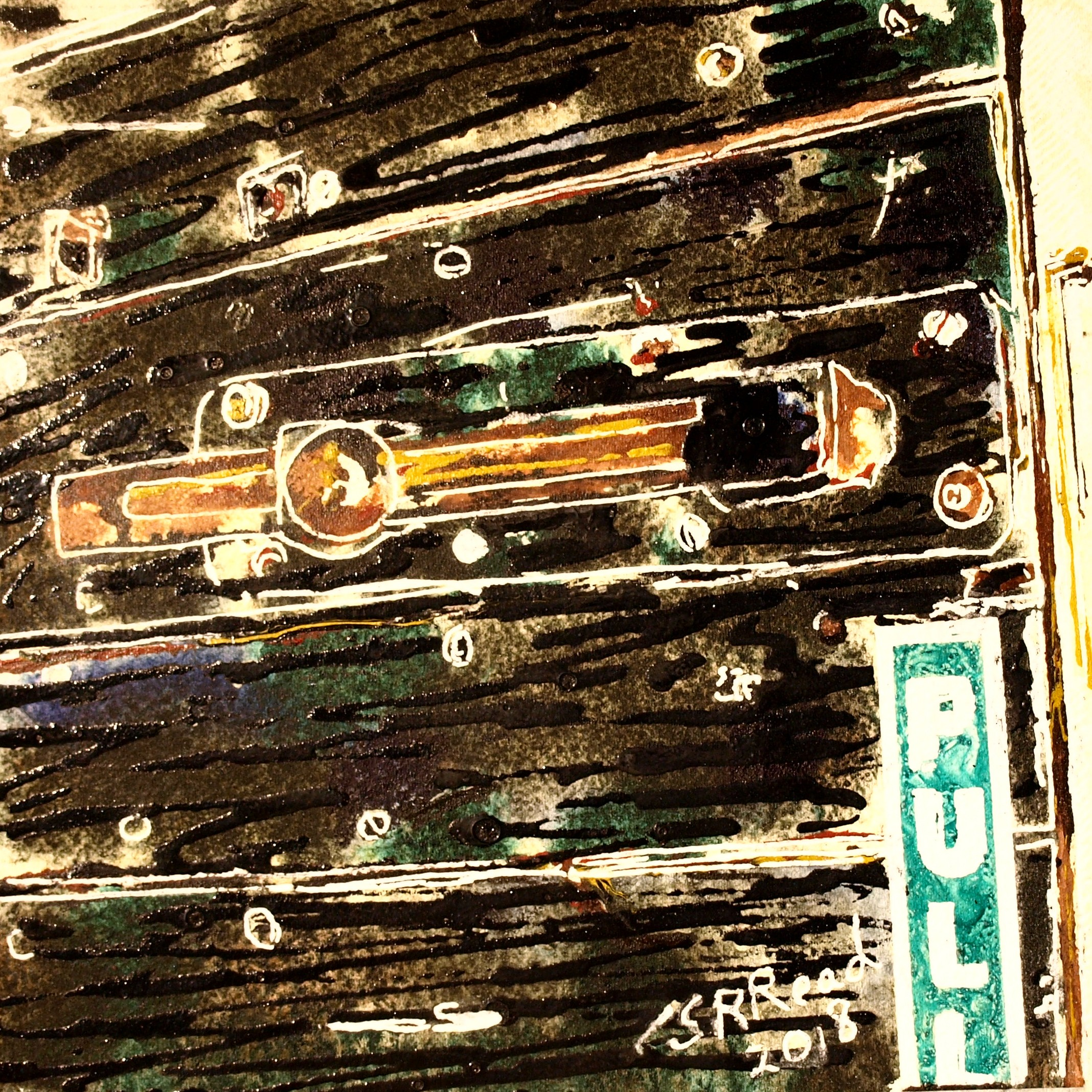 Painting of architectural detail, bolt on a door.22 Bolt - ©2018 - Cathy Read -Watercolour and Acrylic - 17.8x17.8cm