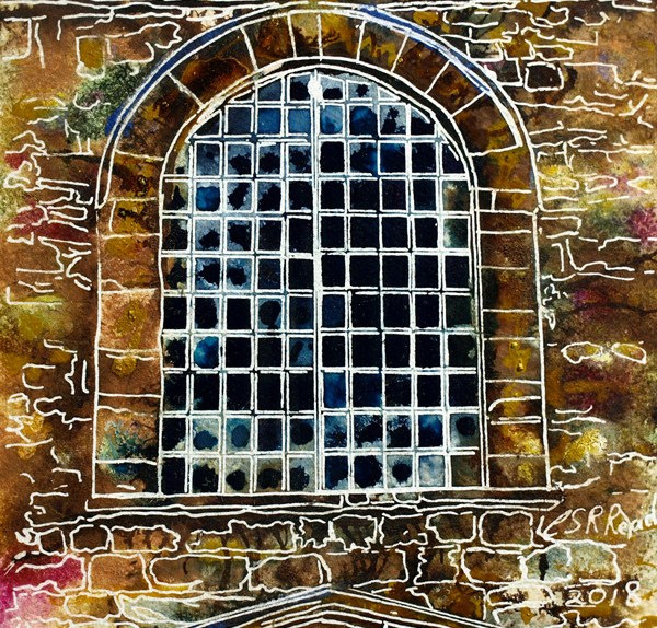 Painting of a metal window in rural Buckinghamshire33 Metal Window - Cathy Read ©2018 - Watercolour and Acrylic - 17.8x17.8cm - SOLD