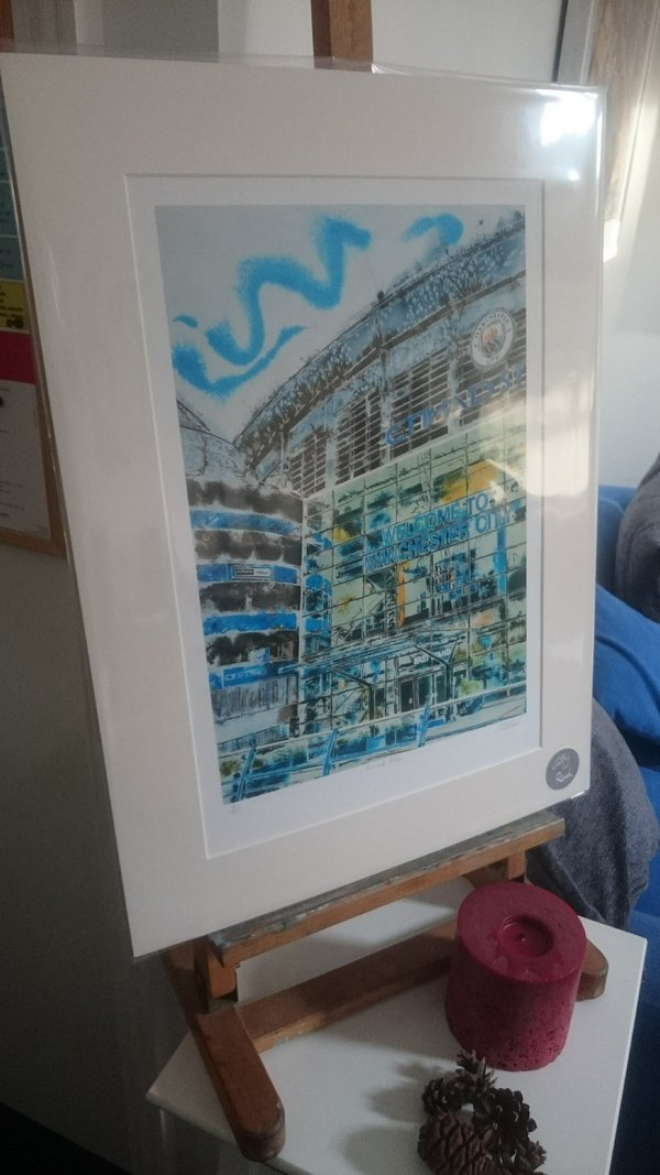 Manchester blue A3 print©2018 - Cathy Read - Manchester Blue - A3 print front