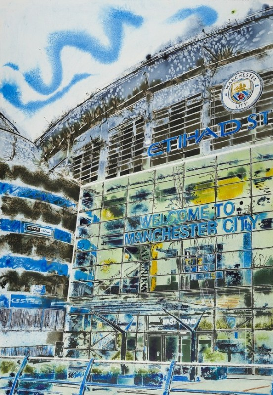 Contemporary Architecture painting of the Etihad Stadium Manchester City Football groundManchester-Blue-Cathy-Read-£1357-81x61cm-©2018