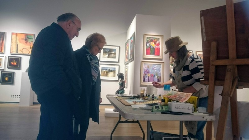 Cathy Read demonstrating at the Mall Galleries London