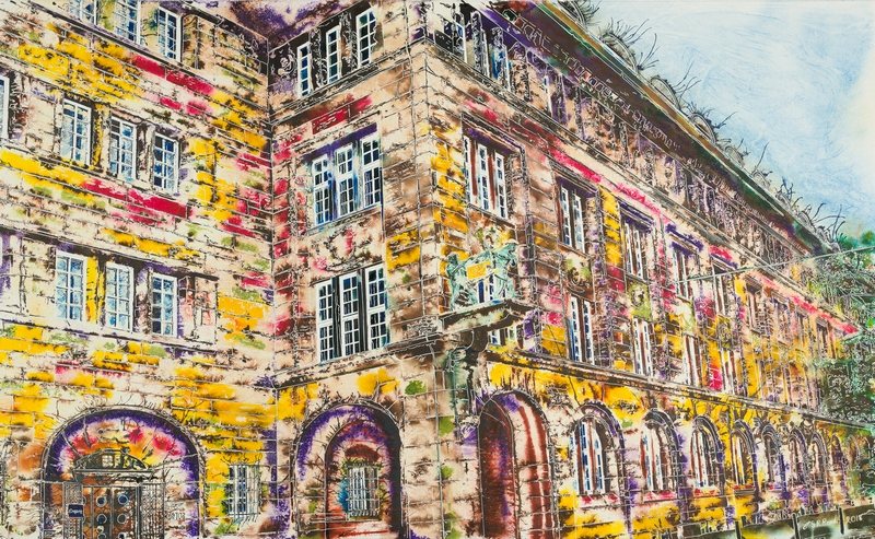 ©2018 - Cathy Read - Bahlsen Hannover Stammhaus - Watercolour and Acrylic - 80 x 130 Painting of Stammhaus, Hanover