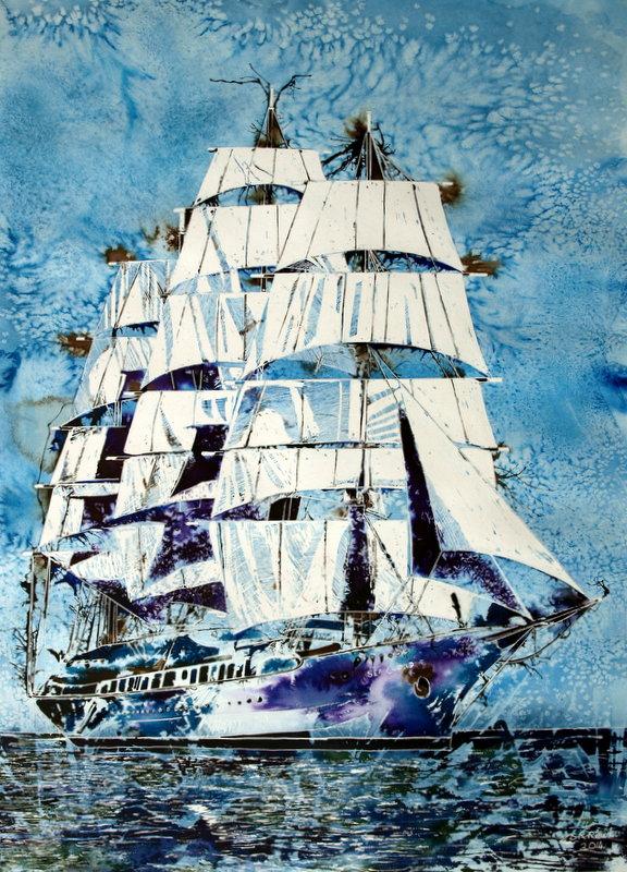 ©2014-Cathy-Read-Sea-Cloud-Watercolour-and-Acrylic-75-x-55-cm