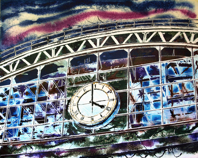 Central Station - ©2019 - Cathy Read - Watercolour and Acrylic - 40 x 50 cm