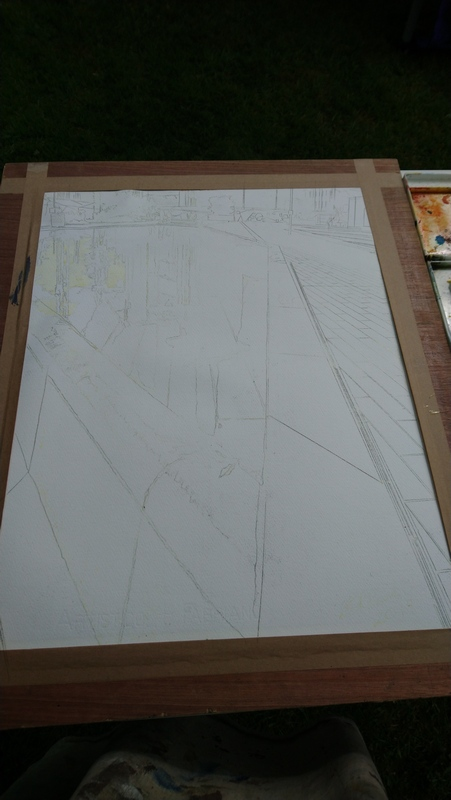 Painting in progress. pencil image on paper with masking fluid applied.