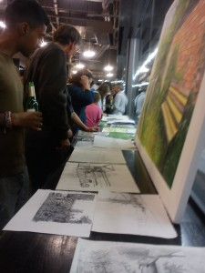 Sharing artistic creations at the evening social in the Tate Modern
