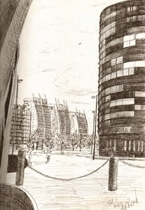 ©2011-Cathy Read- Salford Quays - Ink on A4 paper