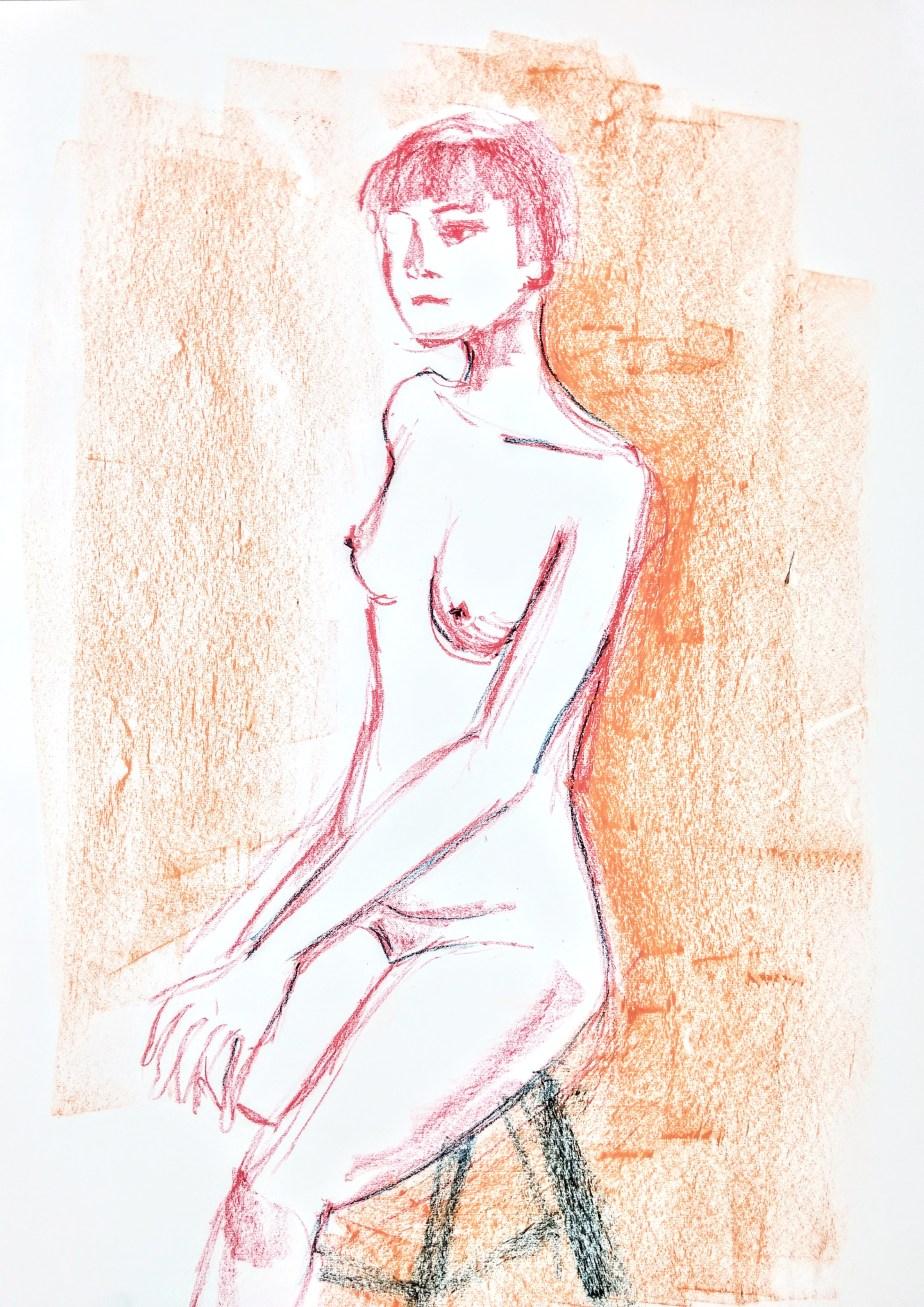 Desenho de modelo feminino nu, em pastel oleoso, realizado durante Prática de modelo vivo com Rafa Coutinho e Laerte no espaço Breu em 2018.