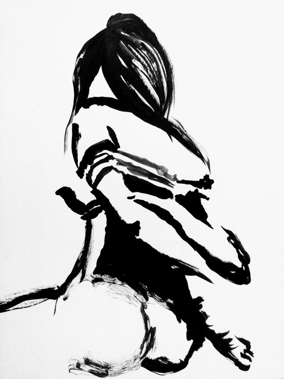 Desenho de modelo feminino nu com amarração shibari, em sumiê, realizado durante Prática de modelo vivo com Rafa Coutinho e Laerte no espaço Breu em 2019.