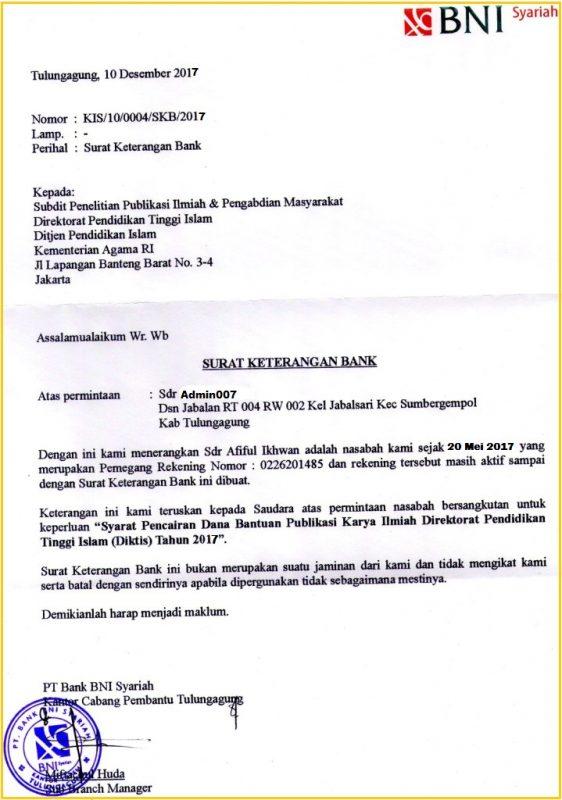 Contoh Surat Referensi Bank BNI