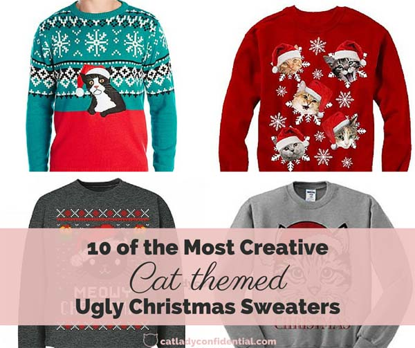 Cat themed ugly Christmas sweaters