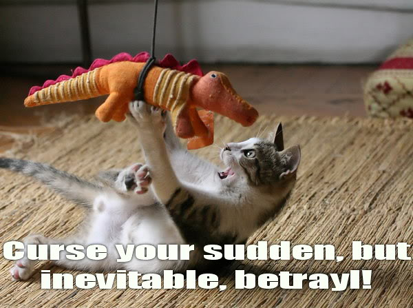 curse your inevitable betrayal dragon dinosaur kitten lol cat macro