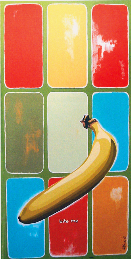 """Bite Me,"" 2000, 18″ x 36″, Acrylic on canvas."