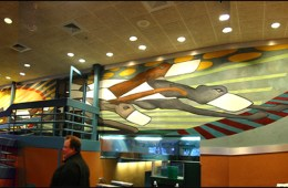 Raynham Dog Track Lobby Mural. 63' x 9.' Raynham, MA. Acrylic on canvas.  Commissioned by: J. Brice Design Intl.