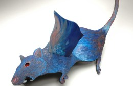 """DUD Courier: Flying Rat"" 3 dimensional: wood, oil paint, light bulb (light up red eye.)"