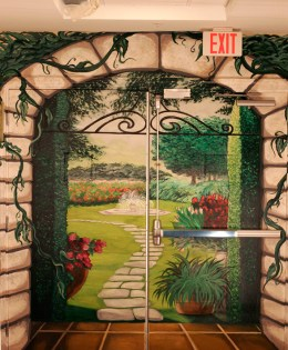"Trompe L'oeil Garden Scene, 2012, 8'6"" x 7'8"" (each side.) Galloway Ridge Health Facility, Pittsboro, NC. Acrylic on metal doors, sealed.  Commissioned by: Weaver Cook Construction."