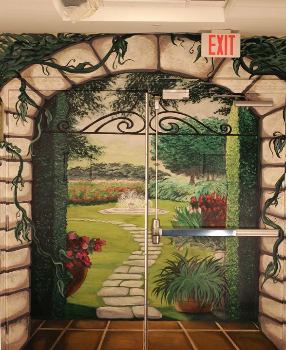 """""""Trompe L'oeil Garden Scene"""" Health Facility, Pittsboro, NC"""