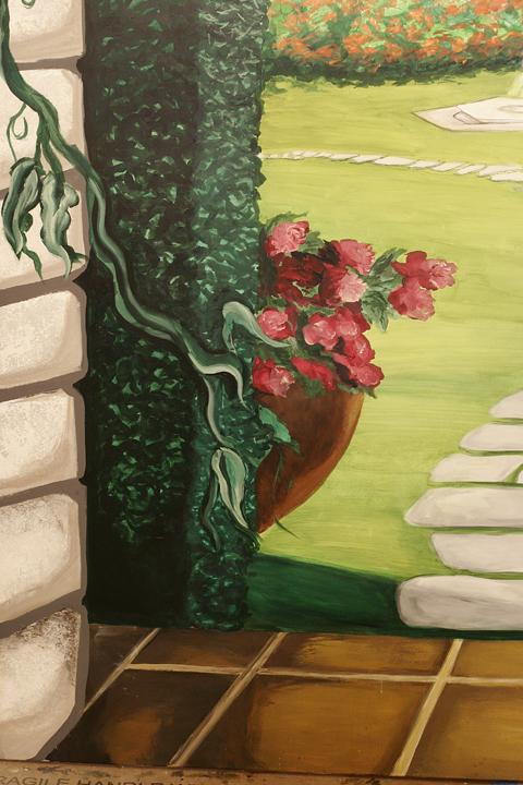 """""""Trompe L'oeil Garden Scene (Detail)"""" Health Facility, Pittsboro, NC"""