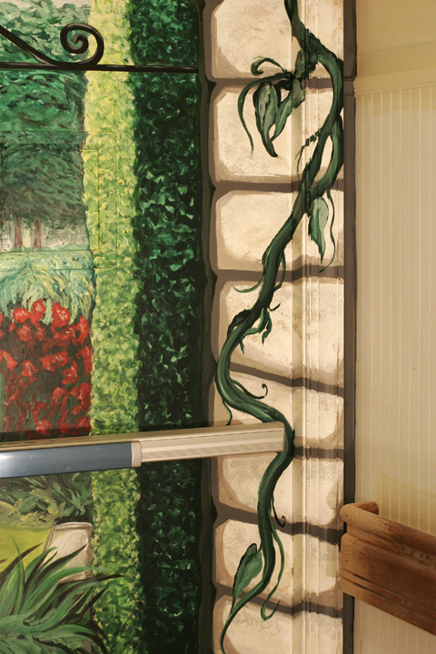 "Trompe L'oeil Garden Scene (DETAIL), 2012, 8'6"" x 7'8"" (each side.) Galloway Ridge Health Facility, Pittsboro, NC. Acrylic on metal doors, sealed. Commissioned by: Weaver Cook Construction."