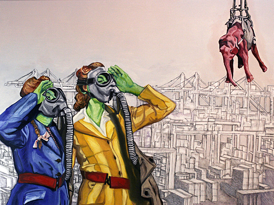 """The Republican, The German and the Elephant In The Room"" 2011, 30"" x 40"" x 1.5"", Oil & latex paint, pencil, marker on canvas."