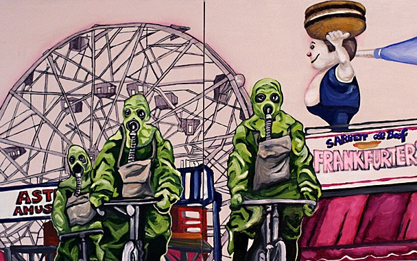 "Unstable Environment #1: Tubesteaks! (Diptych) 2011, 12"" x 24"" x 2.5"", Oil & latex paint, pen, marker on canvas."