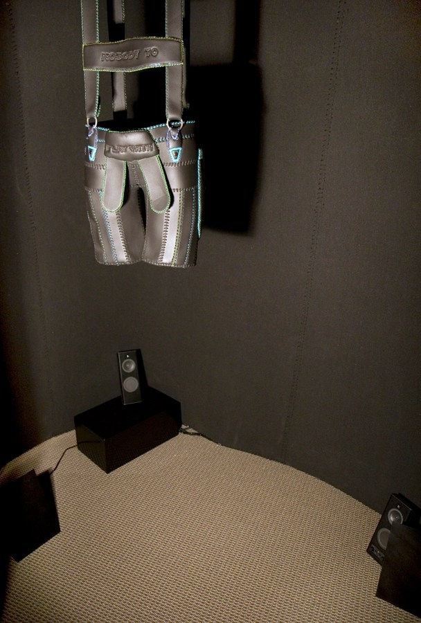 """""""Inside Mini-Cinema Installation"""" Lit by spotlights activated by motion sensor with audio."""