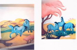 Blue Pony Mural. 15' x 8'. Residence, Washington, DC. Acrylic paint.