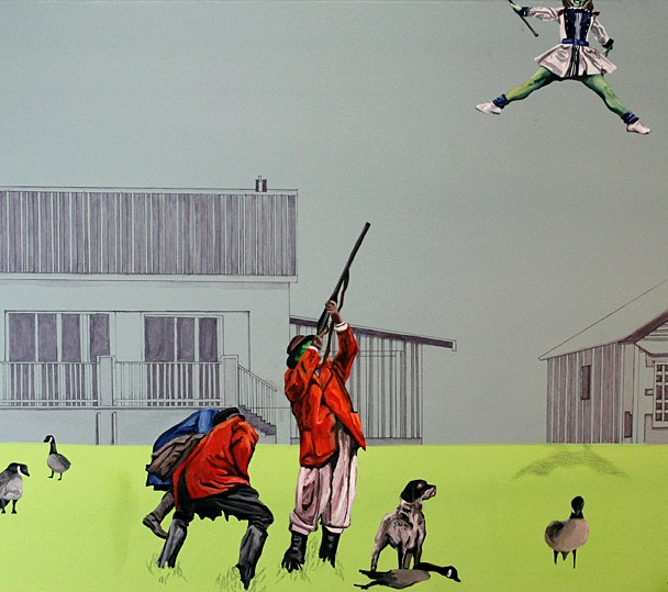 "Unstable Environment #2: Skeet, Skeet! 2011,  30"" x 40"" x 3/4"", Oil paint, latex, pencil, marker on canvas."