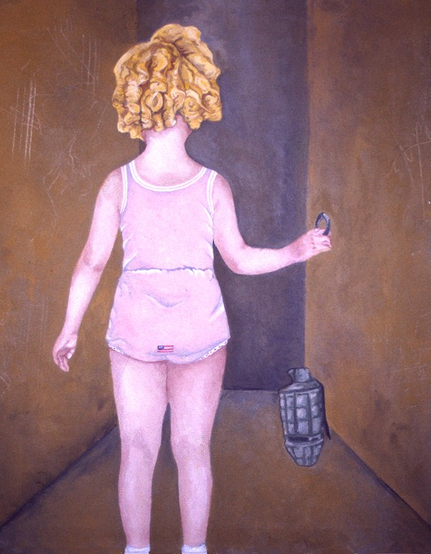 """""""Foreign Policy,"""" 2003, 24″ x 24″, Acrylic on canvas."""