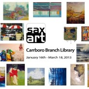 """CAT MANOLIS painting """"The German, The Republican & The Elephant In The Room"""" in Carborro Library exhibit."""