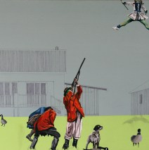 "Unstable Environment #2: Skeet, Skeet!, 30"" x 40"" x 3/4"", Oil paint, latex, pencil, marker on canvas, 2011."