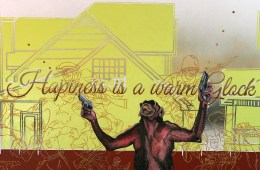 "Hapiness Is A Warm Glock, 40"" x 30"" x 2"", Oil paint, latex paint, spray paint, sequins sewn onto canvas, 2013."