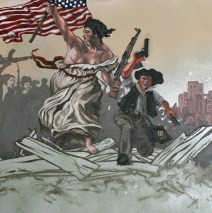 """Liberty Leading The People To Glenn Beck's B-B-Q, 20"""" x 24"""" x 2"""", Oil paint, latex & acrylic paint on canvas, 2013."""