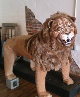 "FULL-SIZE LION made for the play ""Happy Birthday Wanda June"" by Kurt Vonnegut performed by the Run-Of-The-Mill Players."