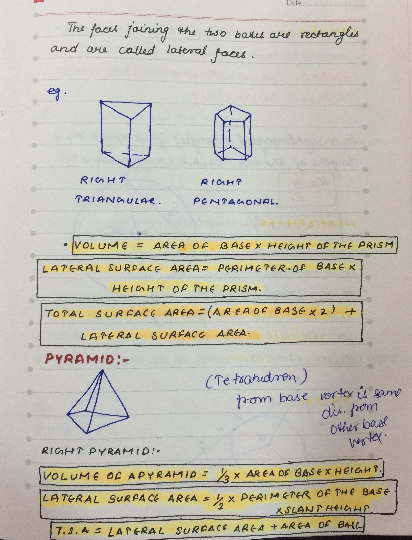 Mensuration Important Formulas
