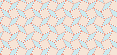 Pattern created with squares and lozenges on a square grid moved by four units