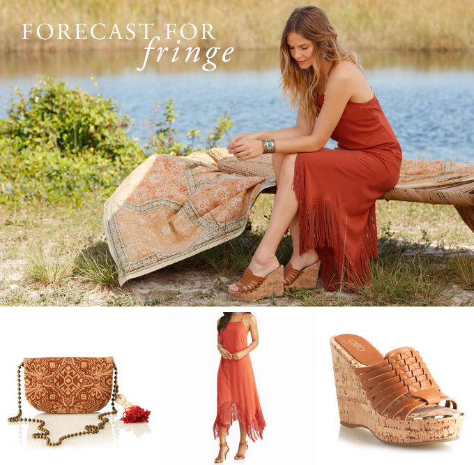 Forecast for Fringe. A woman sits by a pond wearing a fringe hem long dress and wedges.